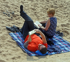 Socks on the beach (Camperman64) Tags: classic beach socks coast seaside sand couple candid style lancashire blanket british stannes fylde