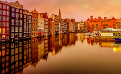 reflections of an old town (gian_tg) Tags: longexposure windows sunset reflection netherlands amsterdam canal holidays wideangle goldenhour dutchhouses hww fujixf14mm fujixt1 happywindowwednesdays