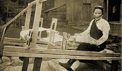 A Taiyal woman learning to use an improved weaving machine - 1912 (over 17 MILLION views Thanks) Tags: taiwan aborigine 1912 formosa weaving japaneseoccupation taiyal