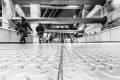 """Concrete"" Westminster London Underground Station, London, UK (davidgutierrez.co.uk) Tags: city uk greatbritain travel light england people urban blackandwhite bw white black building london art monochrome beautiful westminster architecture buildings concrete photography lights design blackwhite nikon europe cityscape photographer unitedkingdom bokeh britain interior capital escalator transport tube structure londres tubestation londonunderground londontube londra blackandwhitephotography centrallondon  londyn ultrawideangle  cityofwestminster   lowview d810 nikond810 1424mm davidgutierrez londonphotographer afsnikkor1424mmf28ged davidgutierrezphotography"