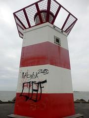 Red Lighthouse (Quetzalcoatl002) Tags: red lighthouse closeup graffiti scheveningen breakwater
