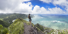 Manamana Ridge (Marvin Chandra) Tags: ocean panorama mountain landscape hawaii model oahu hiking 24mm kahana manamana 2016 d600 landscapeportrait marvinchandra katsweets