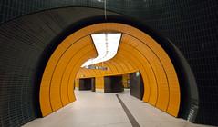 Tunnel Vision (Pamela Marklew) Tags: orange underground subway munich mnchen tiles ubahn marienplatz