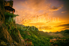 Tonglu Gold (Andy Brandl (PhotonMix.com)) Tags: china sunset sky mountains clouds rural landscape countryside nikon rocks asia solitude nopeople cliffs adventure lush zhejiang tranquilscene redlanterns tonglu subtropicalclimate photonmix