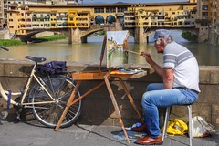 Painting the Ponte Vecchio, Florence (Thank you for 4M+ views.) Tags: bridge italy bicycle painting florence artist brush canvas pontevecchio