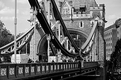 Bridge Scene (pjpink) Tags: uk bridge england blackandwhite bw london monochrome towerbridge spring britain may span 2016 pjpink