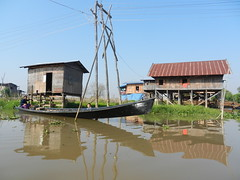 Inle Lake (simo2582) Tags: travel houses people panorama lake reflection nature water landscape lago see daylight boat asia day village view burma floating lac human rowing environment myanmar inle birma shanstate birmania