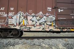 WYSE (QsySue) Tags: railroad train graffiti tag traintracks traincar digitalcamera railroadtracks railroadcar wyse milc nikon1 mirrorlessinterchangeablelenscamera nikonv1