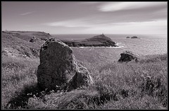 Granitory Alignment (85/365) (J-o-h-n---E) Tags: bw seascape monochrome rock cornwall granite 365 lanscape botallack capecornwall thebrisons awps aperturewoolwich