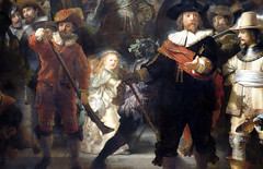 Rembrandt, The Night Watch, detail with girls