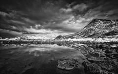 Fjord (Nigel Jones QGPP) Tags: winter mountain snow reflection water norway clouds norge rocks fjord arcticcircle tromso kvaloya
