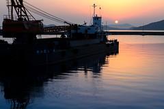 Crane boat at sunset (kurumaebi) Tags: sunset nature landscape nikon yamaguchi mysky   d7000