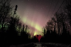 Sky Fires (the real Kam75) Tags: road trees sky snow ontario cold ice colors night stars spring aurora aspens spruce northernlights cme