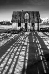 Frozen in Time (Ryan McGinty) Tags: morning blackandwhite snow texture landscape nationalpark spring shadows jackson wyoming grandtetons pinkhouse abandonedhome frozenintime leadinglines mormonrow ryanmcginty