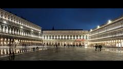 Piazza San Marco (mkniebes) Tags: city longexposure italien venice light urban italy night dark square evening cityscape platz trails tourist ghosts bluehour venedig piazzasanmarco fujinonxf23mm