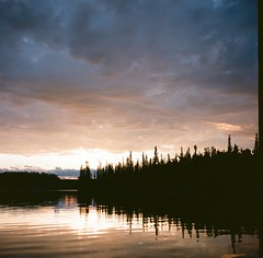 Hidden Lake (Camusi) Tags: camping sunset canada fall 6x6 film automne mediumformat north nwt northwestterritories yashica tno hiddenlake nord coucherdesoleil argentique yellowknife yashicac northof60 territoiresdunordouest lachidden