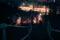 . (patrickjoust) Tags: pittsburgh pennsylvania stairs steep house home freeway fujicagw690 kodakportra160