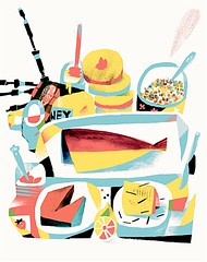 The Scottish Breakfast (sergey, prktr) Tags: fish illustration honey butter jam bagpipe naturemorte porrige