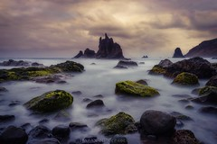 Volcanic essences (Blai Figueras) Tags: longexposure sea sky panorama costa seascape beach water clouds sunrise wow landscape coast mar seaside agua rocks flickr stones horizon atmosphere playa paisaje canarias amanecer le cielo tenerife eden paraiso rocas silkeffect