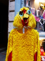 Birdsuit (teaselbrush) Tags: city urban bird strange yellow costume hungary dress random budapest surreal suit odd fancy rooster cockerel