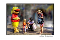 TREAT . (Derek Hyamson) Tags: girl liverpool child candid clown mother entertainer hdr williamsonsquare