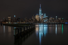 Lower Manhattan (RyanKirschnerImages) Tags: city nyc longexposure ny newyork skyline architecture night reflections cityscape skyscrapers freedomtower