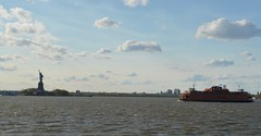 Staten Island Ferry & Statue of Liberty (tannerstakesphotos) Tags: blue summer sky sun statue ferry river liberty island sailing hudson staten