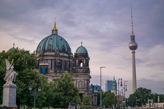 Berlin (MattusB) Tags: new city sunset sun distortion berlin tower fall tourism church monument broadcast june mouth germany lens prime photo tv flickr dom f14 sony capital catedral sigma visit e fernsehturm protestant berliner matus 30mm 2016 benian mirrorless a6000