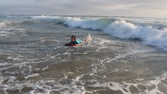 Olsen rides a wave on a boogie board (Aggiewelshes) Tags: california travel beach june waves sandiego olsen missionbeach boogieboard 2016