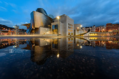 """Brief Aquatic"" Guggenheim Museum Bilbao (davidgutierrez.co.uk) Tags: city photography art architecture davidgutierrezphotography nikond810 nikon night urban color uk bluehour twilight dusk travel cloud bilbao basque blue bokeh puddle reflection street colors colours colour europe beautiful cityscape davidgutierrez structure ultrawideangle afsnikkor1424mmf28ged1424mm d810 touristattraction attraction landmark icon culture water rain guggenheim museum guggenheimbilbao reflections clouds frankgehry contemporary guggenheimmuseumbilbao arts architectural"