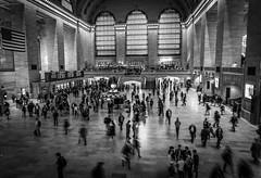 Rush hour (Henka69) Tags: street nyc bw newyork motion monochrome movement streetphoto grandcentralterminal