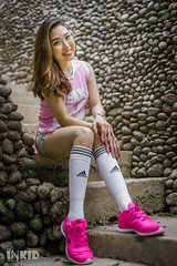 DSC07971 (inkid) Tags: michelle outdoor portrait girl 50mm f14 ssm zeiss cz pretty pink singlet adidas stocking long hair lady model female woman women za stone stair stairs