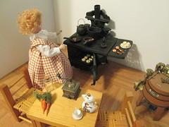 Annabelle in the kitchen (Pumpkin Hill Studios/King William Miniatures) Tags: playscale aisforannabelle francoisgaultier gildebrief frenchfashiondolls