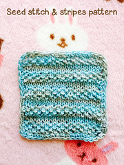 Blue mini blanket with Seed stitch and stripes (Chasing Miss Rainbow) Tags: blue miniature knitting stitch handmade stripes seed blanket