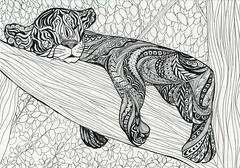 gatito (Yulia Correal Román) Tags: world travel viaje trees naturaleza art nature monochrome animal forest arboles arte drawing illustrations gatos leon bosque animales dibujos mundo kats grafica momentos viajar lineas blanconegro ilustraciones durmiendo dibujar