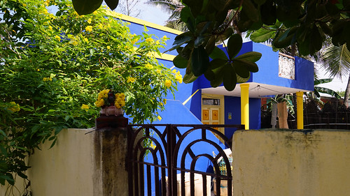 blue + yellow house