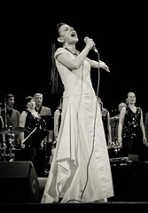 IMG_0595 (bobobahmat) Tags: portrait people bw music woman white black girl choir concert dress scene lviv ukraine singer microphone performer ukrainian bnw mukha