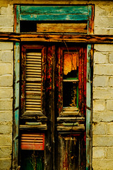 100-2 (gks18) Tags: door wood old brown brick green texture abandoned canon island greek rebel earthquake europe teal character rustic ruin entrance historic blocked greece doorway browns worn slats weathered gr passage jpeg past tones derelict kefalonia devastation banned patina earthtones oldworld 1952 battered timely thresholds wellworn testoftime