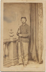 Soldier with Model 1863 Springfield Rifle Musket (Piedmont Fossil) Tags: soldier uniform military rifle civilwar cdv cartedevisite firearm armed antiquephoto musket