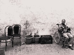 'The One Day More'. Moroccan Portraits by Elena Savonicheva, 2015 (elenasavonicheva) Tags: africa street old city travel blackandwhite man wall photography town photo blackwhite chair chairs box seat wheelchair streetphotography oldman pot morocco maroc medina flowerpot streetphoto essaouira moroccan flowes invalid blackwhitephoto blackandwhitephoto travelphotography travelphoto travelpics travelpic
