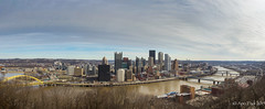 Panoramic view of Pittsburg (apomark) Tags: city blue sky usa cars clouds buildings river spring pittsburgh cityscape bridges panoramic pensylvannia