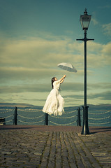 Lift Off (Johnny_7) Tags: water lamp umbrella river scotland clyde greenock nikon post surreal levitation