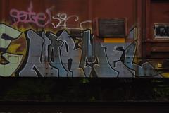 NARMEL (TheGraffitiHunters) Tags: street blue white black art car train graffiti colorful paint box tracks spray boxcar freight benched benching narmel