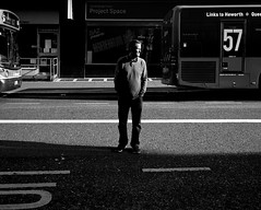 A Drunk Man Waiting For The Bus - Newcastle (Richard James Palmer) Tags: street new uk portrait england urban blackandwhite white abstract black art 120 mamiya film monochrome newcastle photography iso800 trapped shoot shadows gloomy iso400 fineart north streetphotography documentary rangefinder gritty ishootfilm tyne east iso ilfordhp5 400 walkabout epson hp5 medium format analogue pushed northern northeast 800 ilford f4 isolated upon newcastleupontyne 1125 80mm tyneandwear 2016 800iso v700 mamiya7ii microphen filmisnotdead 7ii ilfordmicrophen epsonperfectionv700