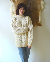 Vintage Chunky Fisherman Sweater Wool Cable Knit Lady (Mytwist) Tags: ladies classic wool girl fashion lady female fetish vintage cozy sweater fisherman women fuzzy knit craft style cable retro passion fishermans milf fishermens chunky bottleofbread laine sweatergirl knitwear cabled webfound mytwist aranstyle