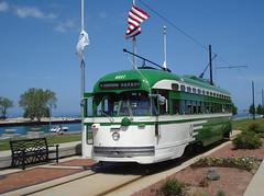 Kenosha PCC Streetcar Lake Michigan (bishop71701) Tags: trolley ttc flag tram lakemichigan muni streetcar kenosha pcc torontotransitcommission 4617
