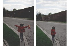 little flavia (ConcreteLies) Tags: red sky people green grass clouds kid diptych pavement lawn