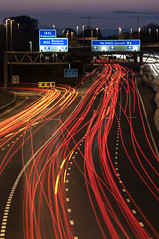 M6 Traffic trails (DavidRHScott) Tags: uk longexposure england nikon lancashire preston lighttrails m6 manfrotto traffictrails m55