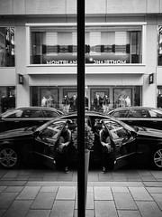 Mirrored Car (Michael Guthmann) Tags: blackandwhite mirror hamburg streetphotography montblanc 17mm penf thomasleuthard ewm1718 olympus17mmf18 mzuikodigital17mm18 olympus17mm118