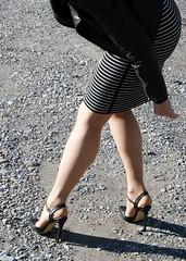 checking the nylons (feldhaze) Tags: highheels skirt bata nylons